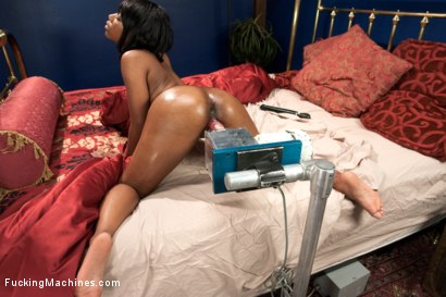 Smooth dark-skinned all natural babe machine fucked in her creamy, pink pussy but custom machines and the world's strongest vibrator!