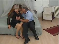 Hairy cunt of an old and fat grannie gets a cock it longed for
