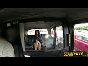 Whining brunette amateur in a UK taxi is paying...