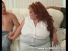 Huge Horny BBW Redhead Gets Triple Teamed