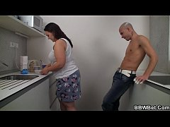Fat ass plumper getting screwed on the kitchen