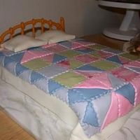 Quilt Bed Cake Carrot cake with cream cheese icing and MMF quilt and headboard. It took forever, even with my mom's help, to cut out that pattern and...