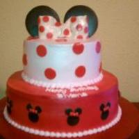 Minnie Mouse Cake   chocolate cake with strawberry filling, PP frosting and fondant decoration TFL!!!!