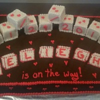 Chocolate And Pink Blocks Baby Shower Cake  A cake that matched the colors of the baby shower. Due date on blocks. Baby's name on flat blocks. Inspired by another cake on CC,...