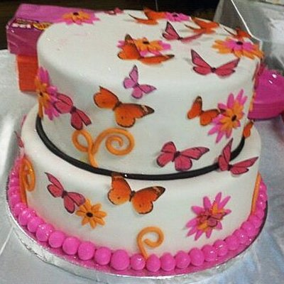 Pink & Orange Butterfly Baby Shower Cake