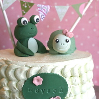Green Frog And Turtle Birthday Cake For a little girl turning 4 who loves all things green.