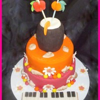 Tropical Themed Birthday Cake For A Musician   TROPICAL THEMED BIRTHDAY CAKE FOR A MUSICIAN