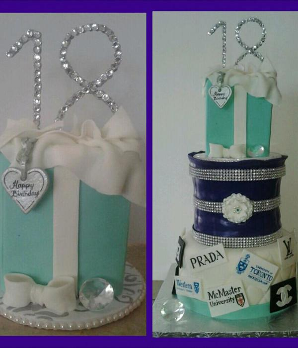 18Th Birthday Cake 8 Inch And Carved 67 Inch Cake Covered In Fondant Tiffany Bag On Top Is Fake As Client Wanted To Keep It Along Wi
