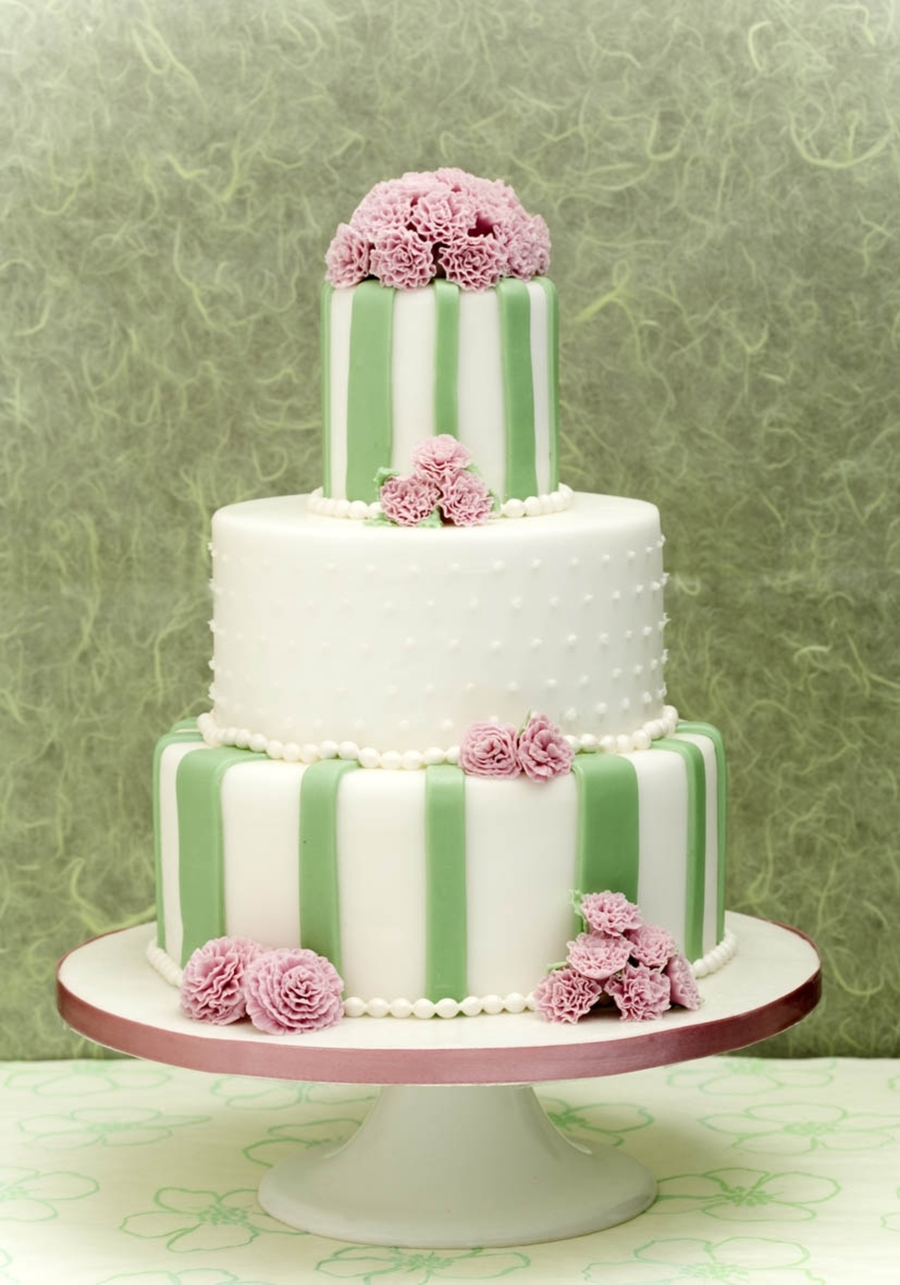 Carnation And Stripes Wedding Cake  on Cake Central