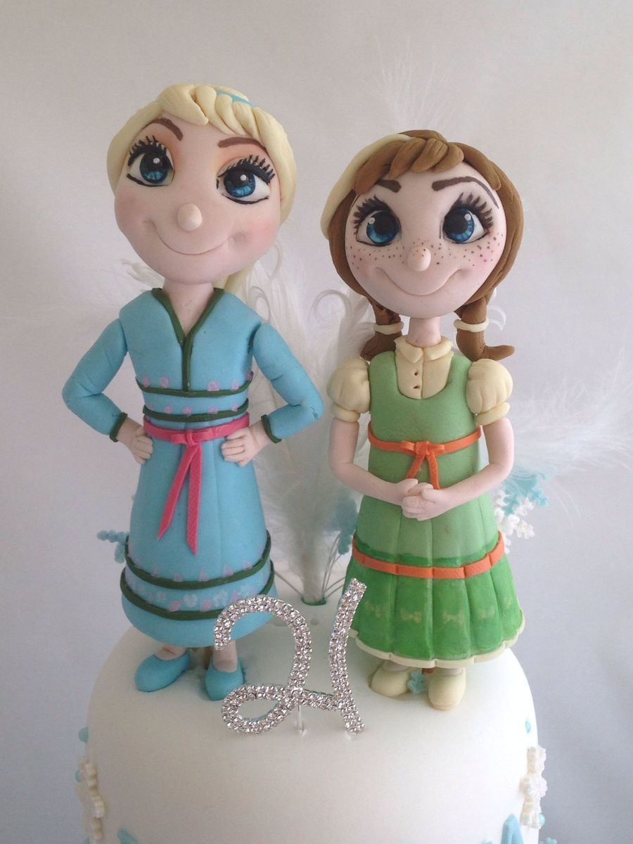 Frozen Birthday Cake With Anna And Elsa As Children