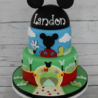 Mickey Mouse Clubhouse Birthday Cake   Mickey Mouse Clubhouse Birthday Cake. The Mickey Mouse head was made using half of a styrofoam ball and then covered in fondant.