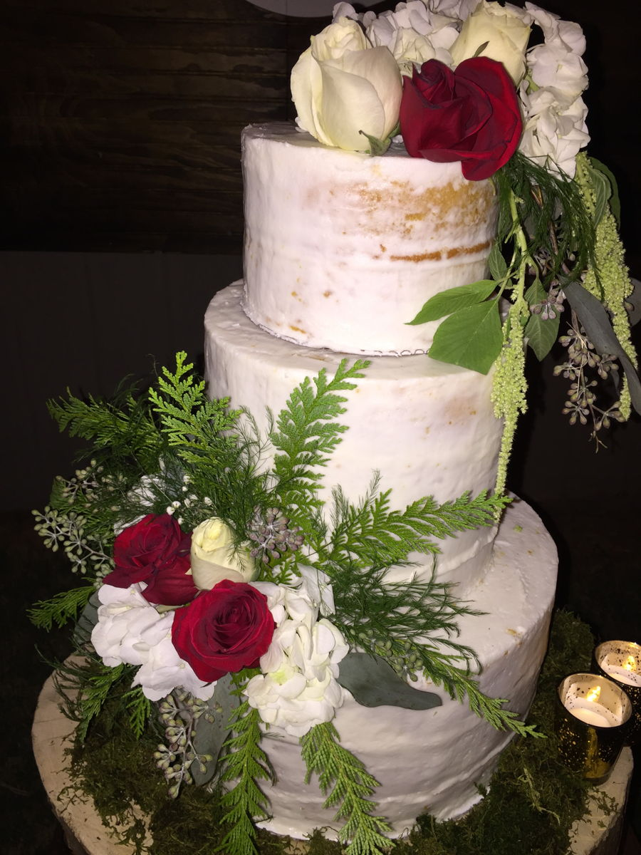 Semi Naked Wedding Cake With Fresh Flowers on Cake Central