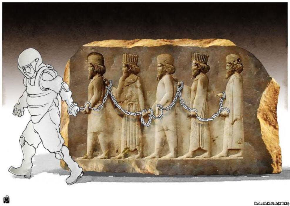 "The cartoon shows mass arrest of citizens who gathered for ""Cyrus the Great Day"" in Pasargad, Iran."