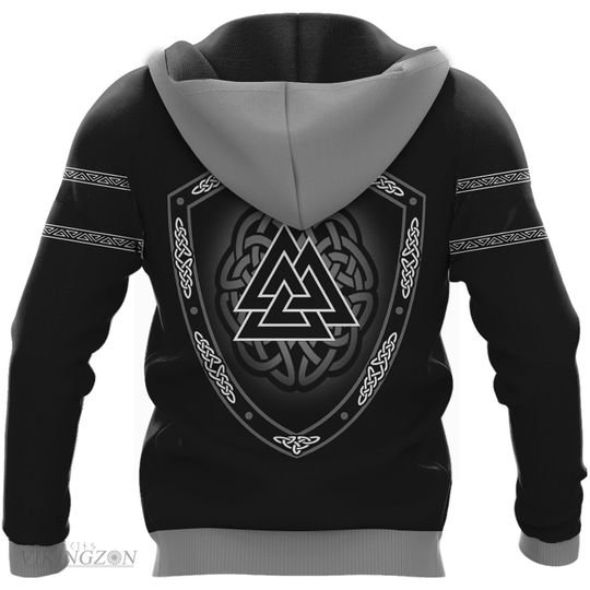viking symbol wolf all over printed hoodie - back