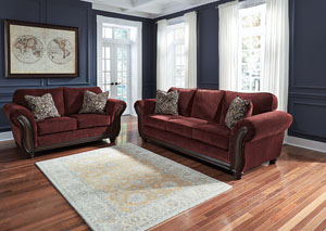 Chesterbrook Burgundy Sofa and Loveseat,Signature Design by Ashley