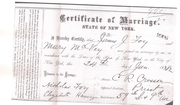 Part 1 James and Mary McVey Marriage Certificate Circa 1882