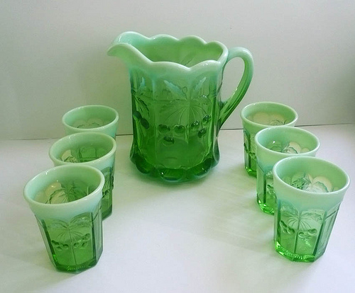 Vintage Glass Pitcher and Tumblers Opalescent Mosser