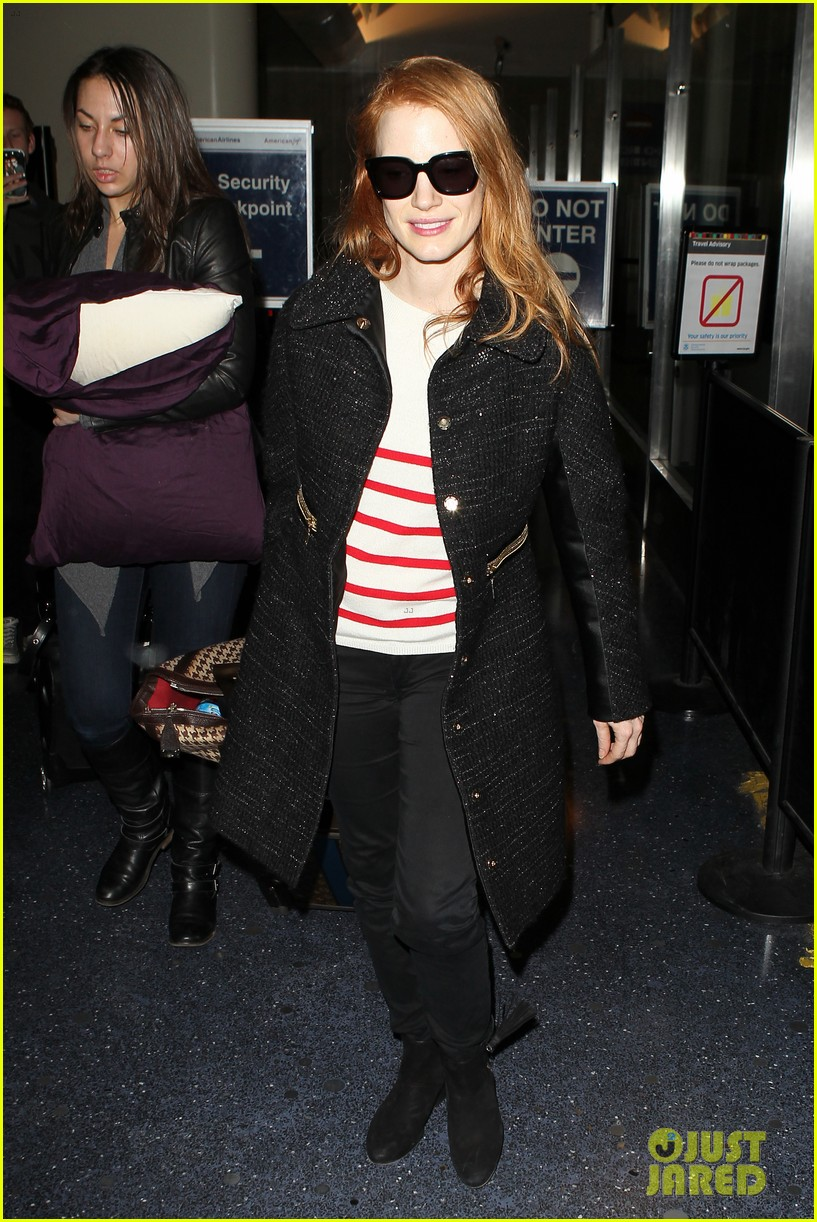 jessica chastain lands at lax nikolaj coster waldau promotes mama 022804506