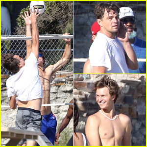 Leonardo DiCaprio & Ansel Elgort Battle It Out in Beach Volleyball Game!